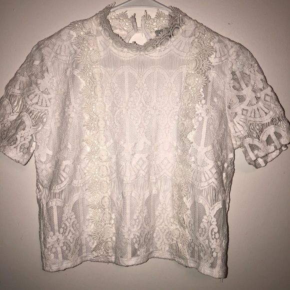 d2069f63b95 Charlotte Russe Tops - Charlotte Russe Short Sleeve Lace Crop Top Blouse
